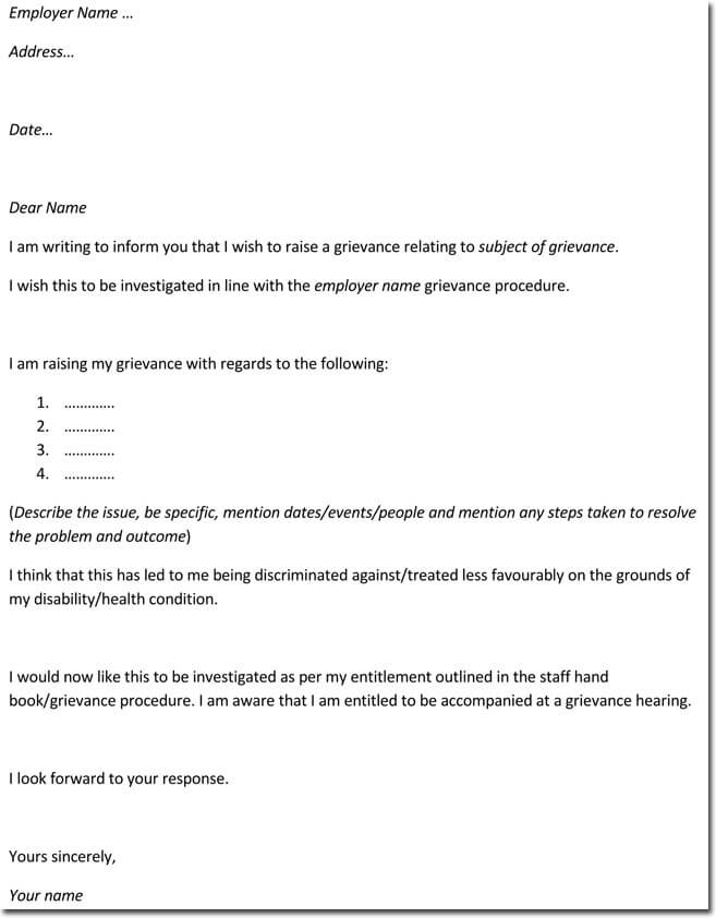 Sample Grievance Letter Template for Employee
