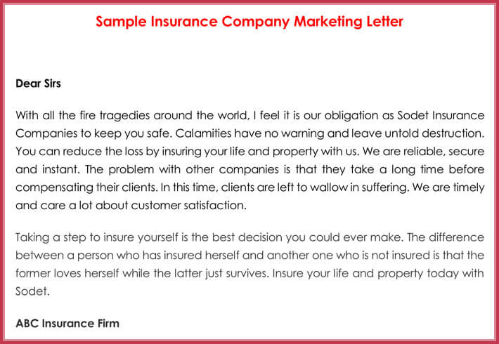 Sample Insurance Company Marketing Letter