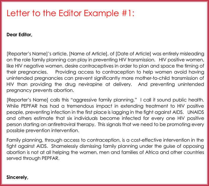 Letter To The Editor Templates 10 Samples Formats