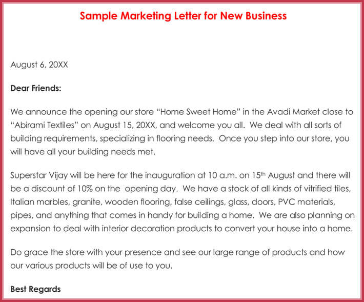 Sample Marketing Letter for New Business
