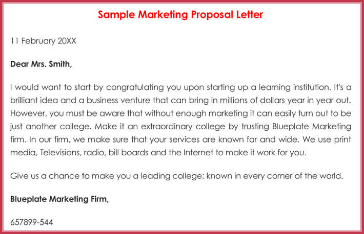 Sample Marketing Letters   Formats For Sales  New Business