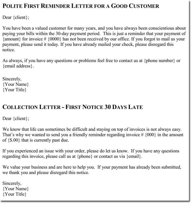 collection letter templates free