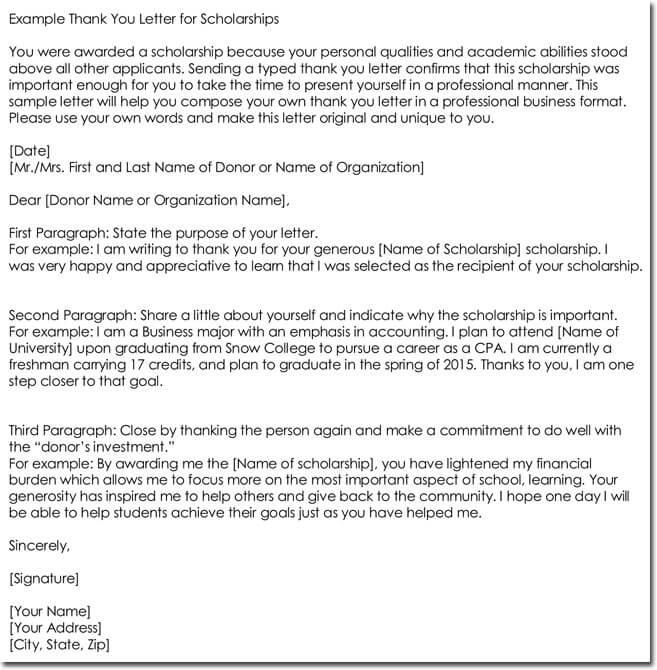 Sample Thank You Letter Template for Scholarship