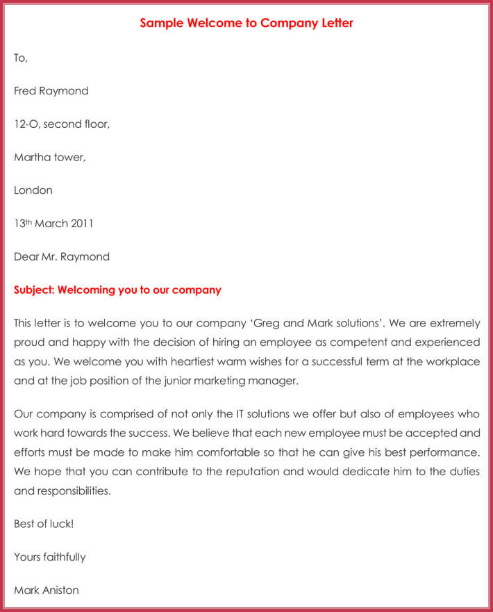 Sample Welcome to Company Letter