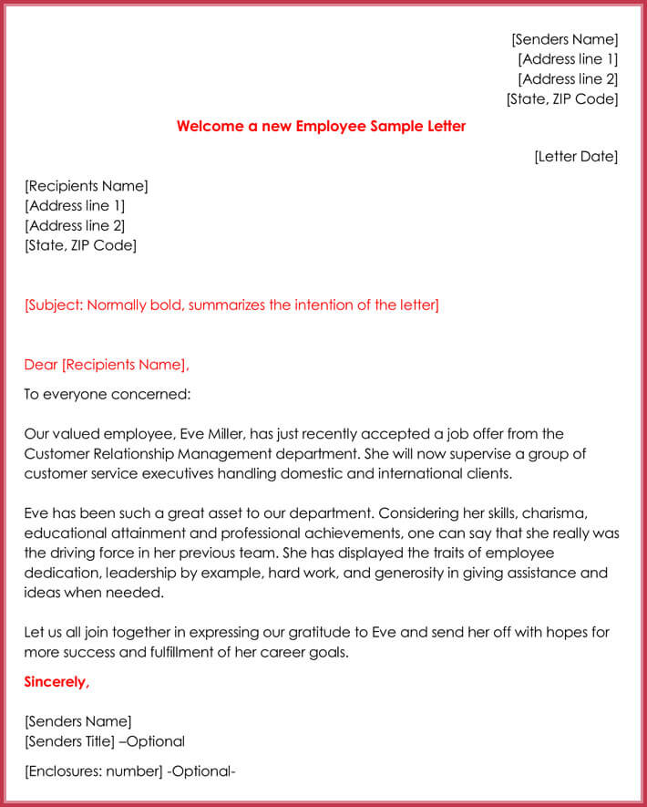 Welcome a new Employee Sample Letter