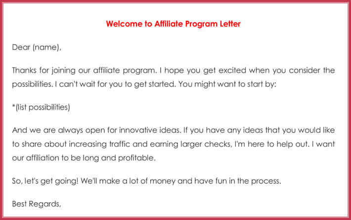 Welcome to Affiliate Program Letter