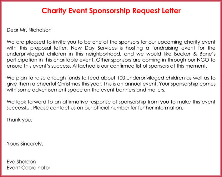 charity sponsorship request letter example