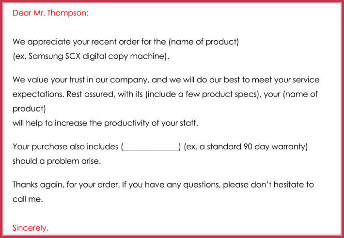 printable customer thank you letter format for word