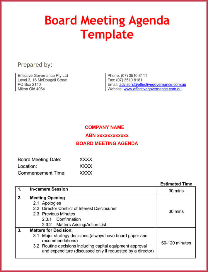 free effective meeting agenda template