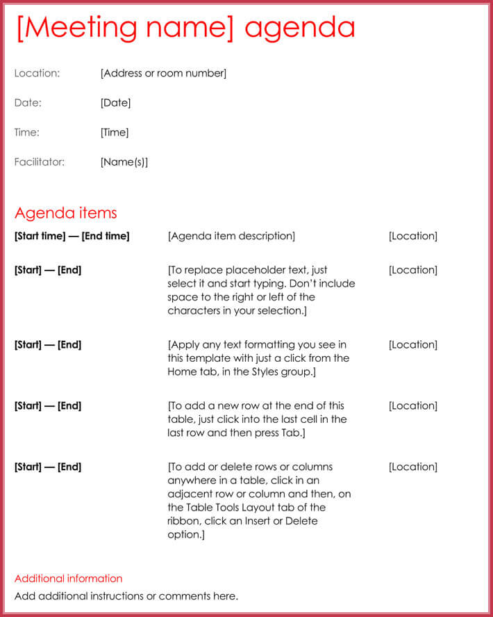Effective meeting agenda templates 9 best samples in word format business effective meeting agenda template format maxwellsz