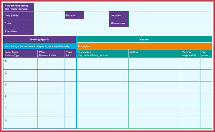 effective meeting agenda template sample