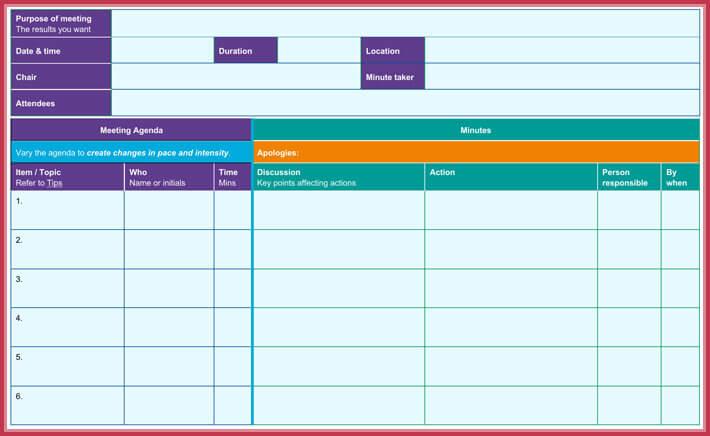 effective meeting agenda template sample