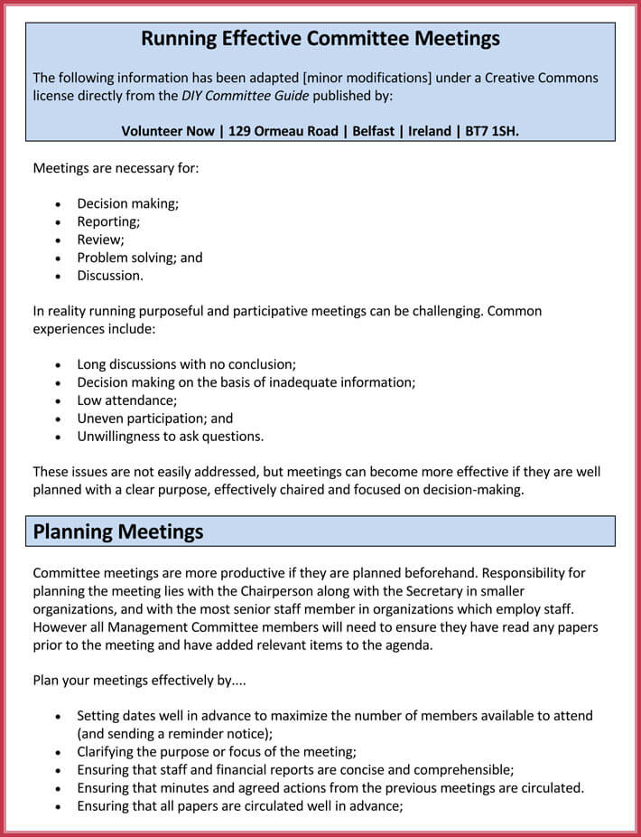 format of effective meeting agenda template