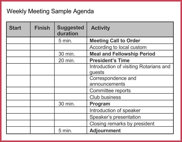 Weekly meeting agenda template image collections for Weekly meeting calendar template