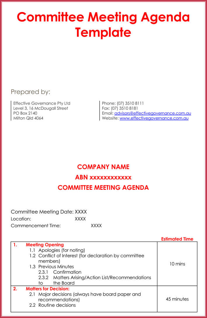 sample of weekly meeting agenda template
