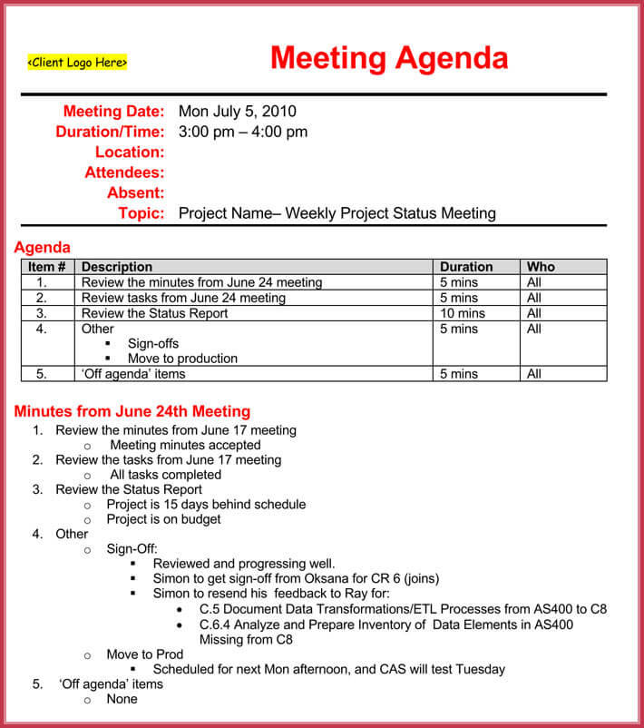 Weekly meeting agenda template 9 samples formats in for Weekly meeting calendar template