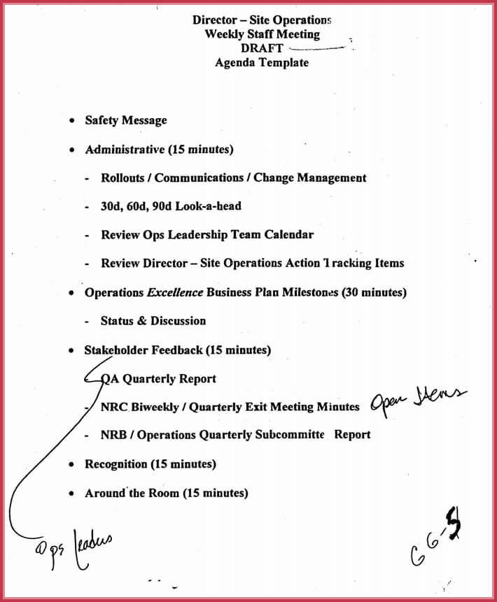Charming Operations Meeting Agenda Template Photos  Example Resume