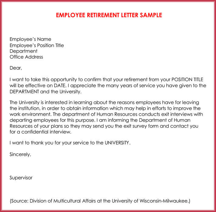 Retirement Letter Sample From Employer To Employee