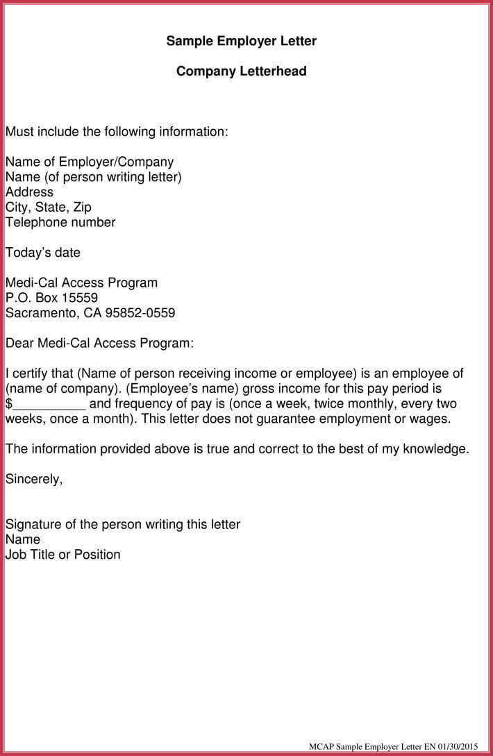 proof of income letter for employer