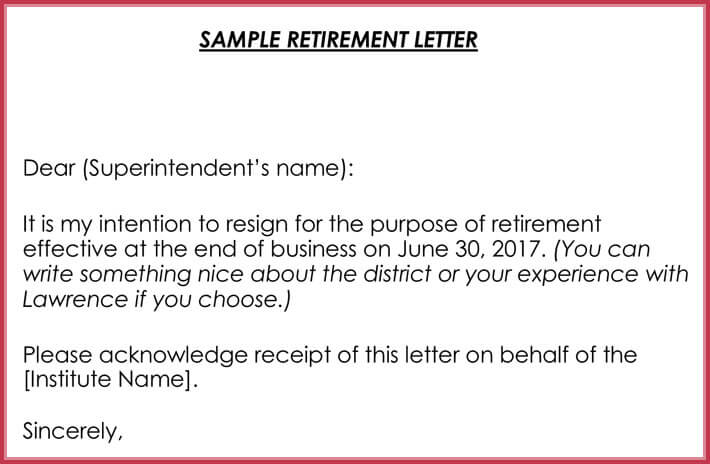 Free Sample Retirement Letter Word  Retirement Letters