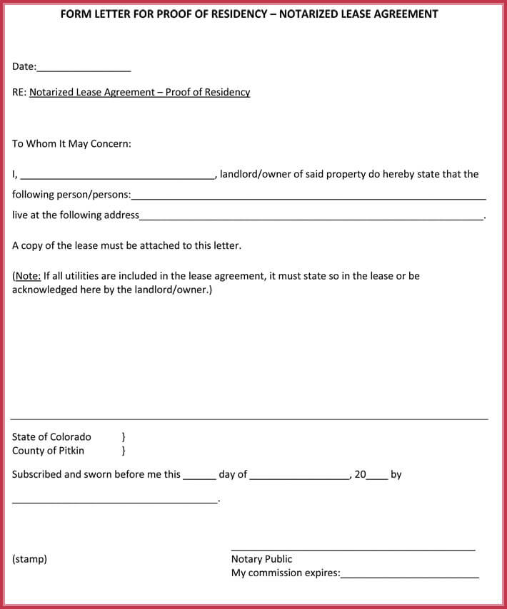 Editable Notarized Letter Proof Of Residency Income Format