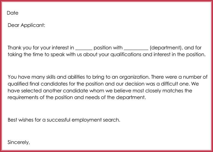 Rejection Letters   Free Samples  Formats For Hr