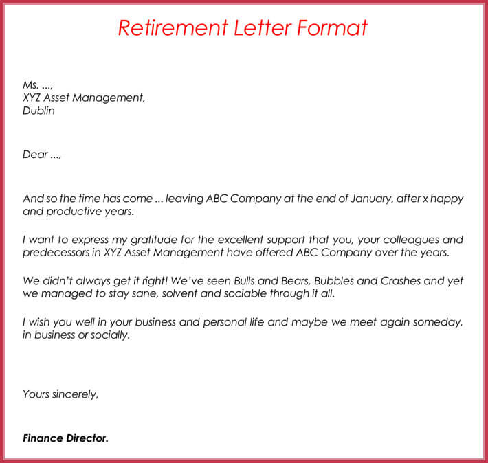 Examples Of Letters Of Intent To Retire