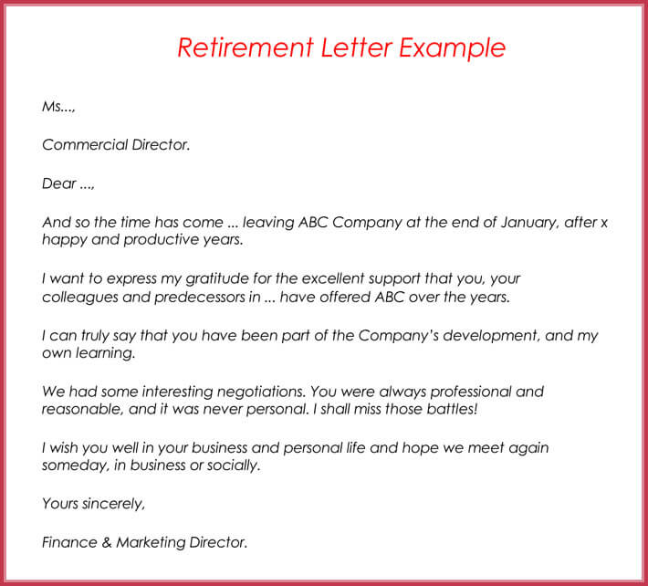 letter of retirement examples