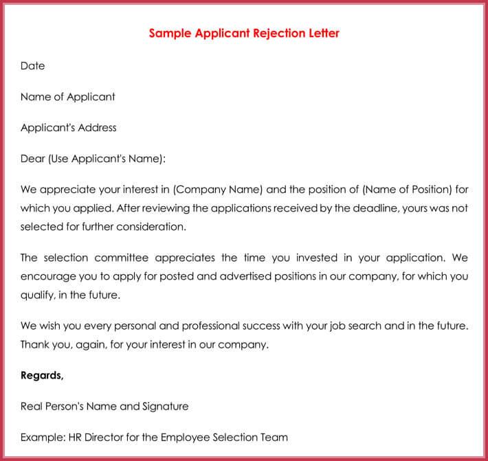 Rejection letters 20 free samples formats for hr resume rejection letter spiritdancerdesigns Choice Image