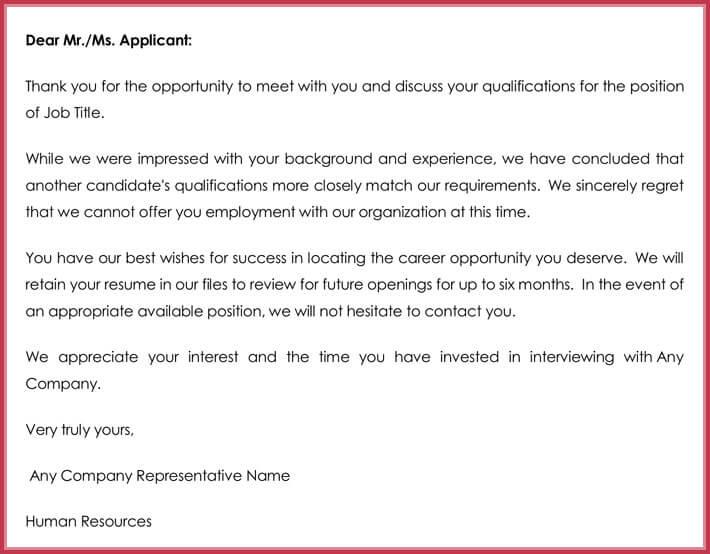 Sample Application Rejection Letter