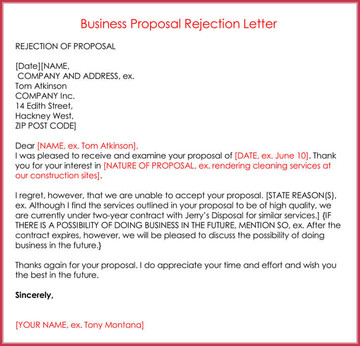 Sample Business Proposal Rejection Letter Format