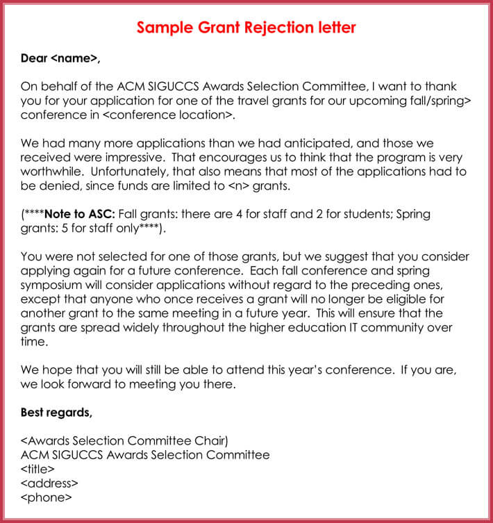 Sample Grant Rejection Letter