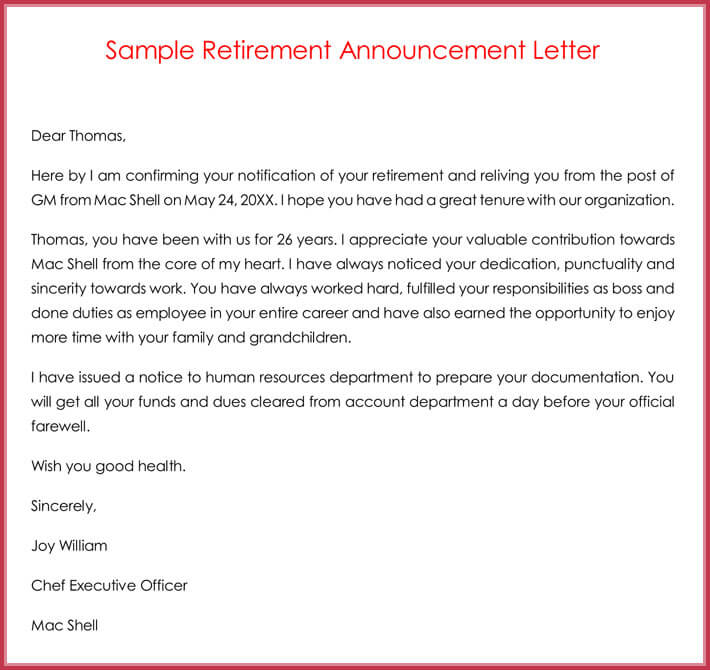 retirement letter samples  examples  formats  u0026 writing guide