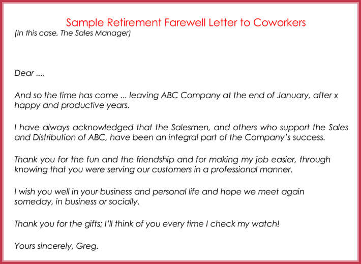 retirement letters to coworkers