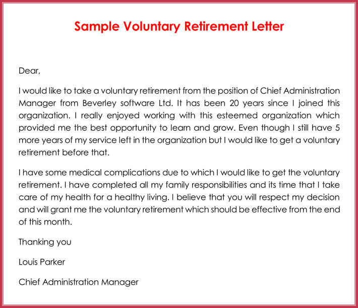 Sample Voluntary Retirement Letter