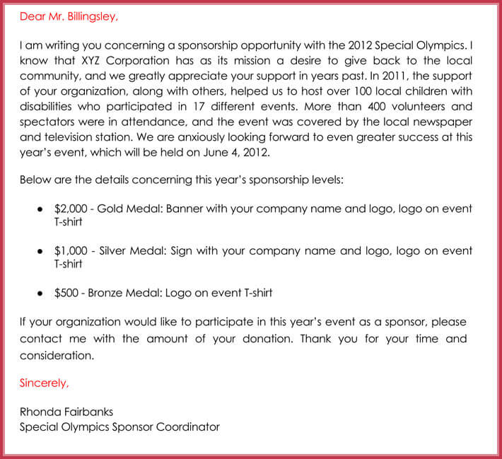 Sponsorship Request Letter 12 Best Samples Formats Writing Tips