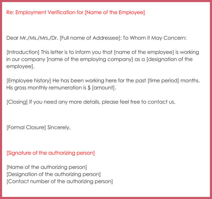 sample of employment verification letter