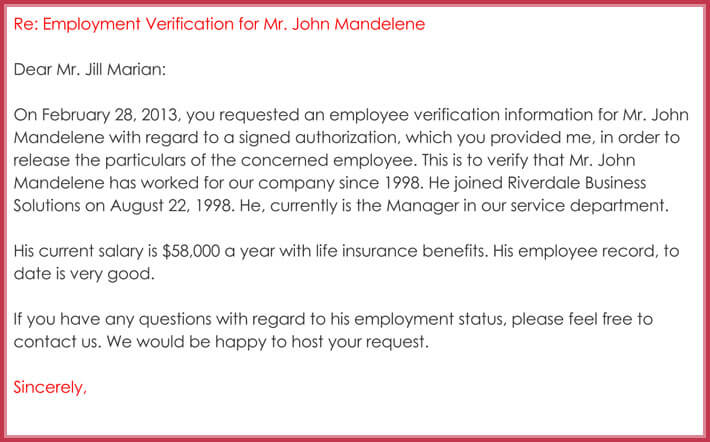Employment Verification Letter 13 Samples Amp Formats In