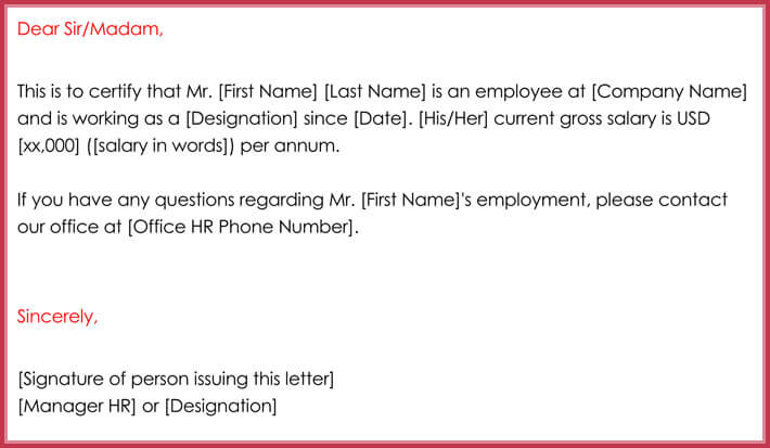 free print employment verification letter