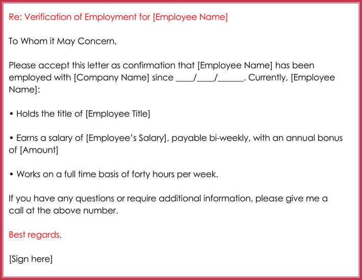 downloadable employment verification letter
