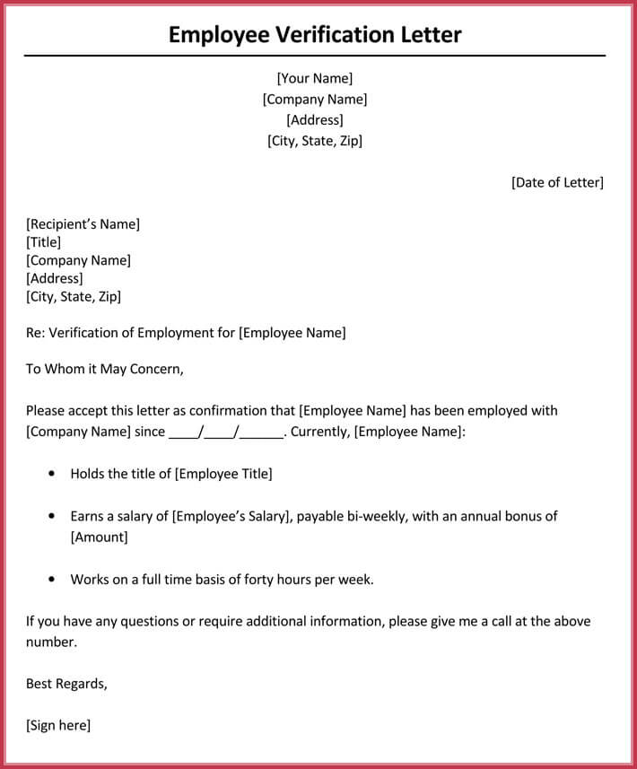 Income Verification Letter For Employee  Examples Of Employment Verification Letters