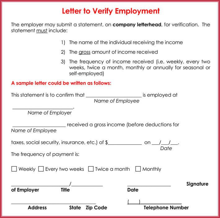 Income Verification Letter   Samples  Formats