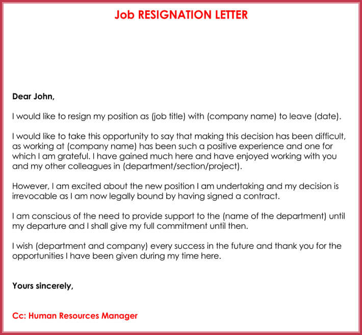 sample of job resignation letter