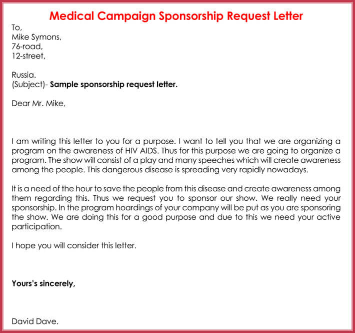 Editable Sponsorship Request Letter