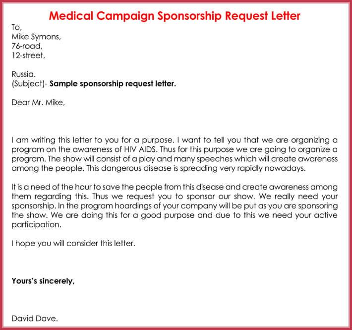 Sample Of Sponsorship Request Letter For Medical Campaign  Letter Sponsorship