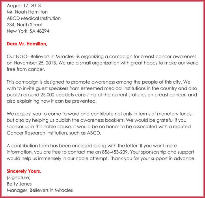 sample of sponsorship request letter