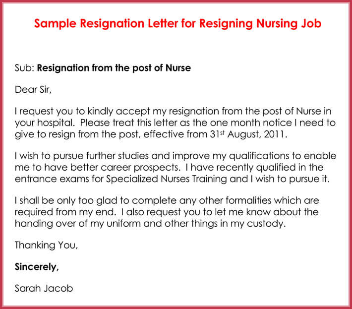 resignation letter for nursing post