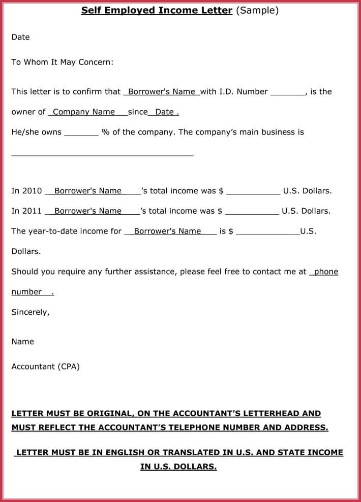 Proof of income letter 20 samples formats in pdf word format of self employed proof of income letter altavistaventures