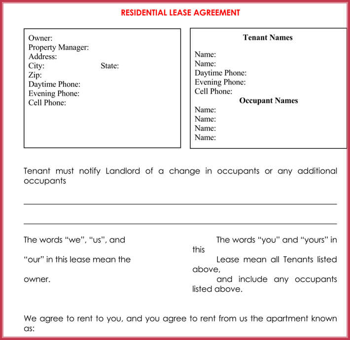 free edit apartment rental lease agreement