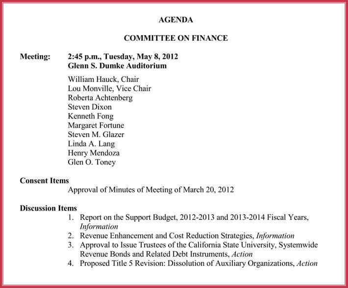 editable board meeting agenda template